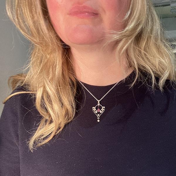 Edwardian Ruby Diamond Pearl Pendant in Platinum & 18ct Yellow Gold date circa 1900 SHAPIRO & Co since1979 - image 2