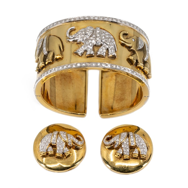 A Bangle and Earclip Suite of Stylised Elephant design Offered By The Gilded Lily - image 2