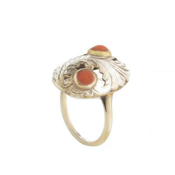 A Silver and Coral Ring - image 2