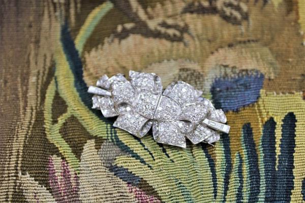Platinum Diamond Double Clip Bow Brooch, English, Circa 1930 - image 1