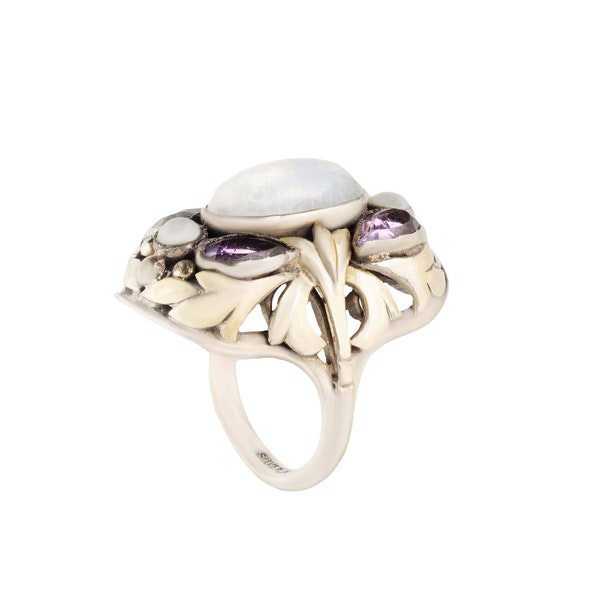 A Moonstone, Amethyst, Natural Pearl Silver Ring by Bernard Instone - image 2