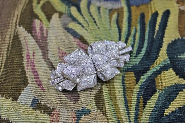 Platinum Diamond Double Clip Bow Brooch, English, Circa 1930 - image 2