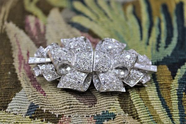 Platinum Diamond Double Clip Bow Brooch, English, Circa 1930 - image 3