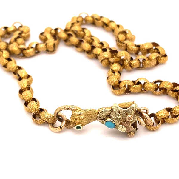 A Gorgeous Georgian Chain with Hand in Tricoloured Gold, with Turquoise and Green stone Ca1790 - image 7