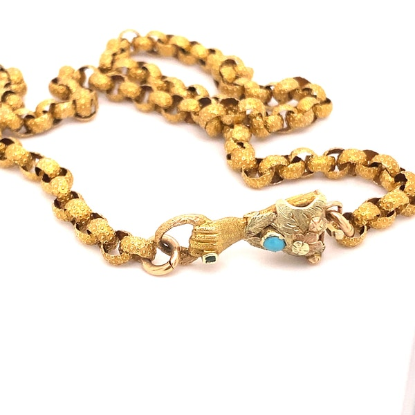 A Gorgeous Georgian Chain with Hand in Tricoloured Gold, with Turquoise and Green stone Ca1790 - image 8