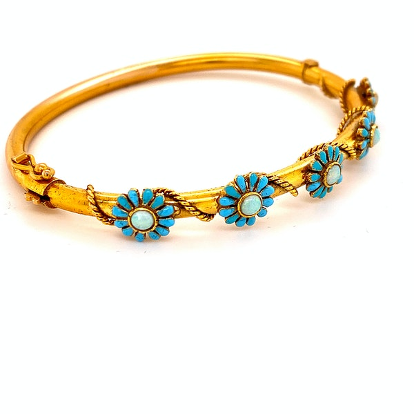 A Very Pretty Victorian Bangle with Enamel and Opals Ca1880 - image 2