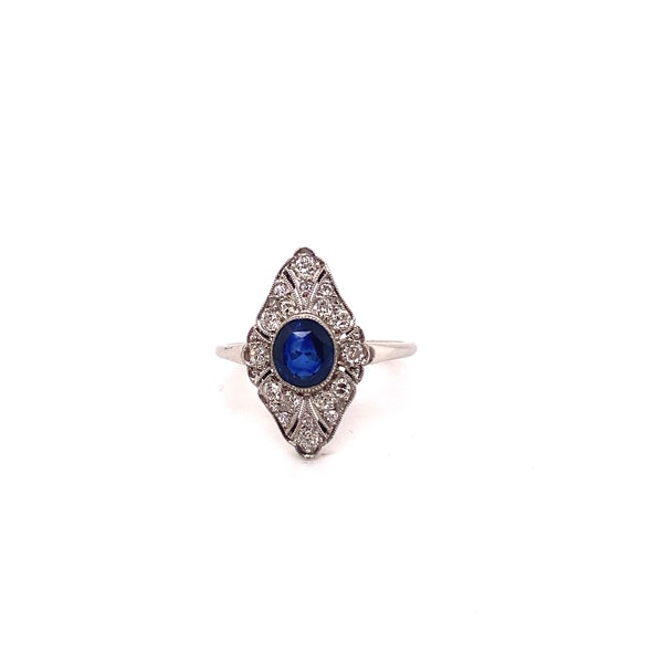 Art Deco Sapphire and Diamond Marquise Shaped Ring Ca1920-35 - image 7