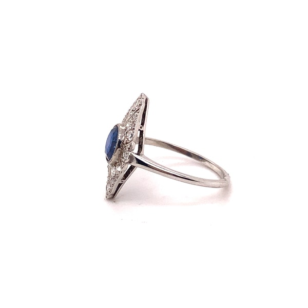 Art Deco Sapphire and Diamond Marquise Shaped Ring Ca1920-35 - image 4