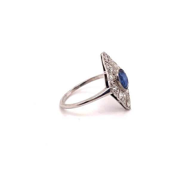 Art Deco Sapphire and Diamond Marquise Shaped Ring Ca1920-35 - image 3