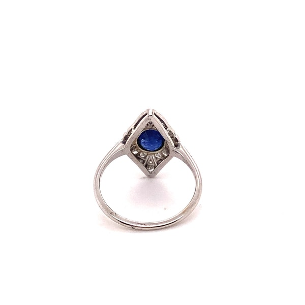 Art Deco Sapphire and Diamond Marquise Shaped Ring Ca1920-35 - image 5