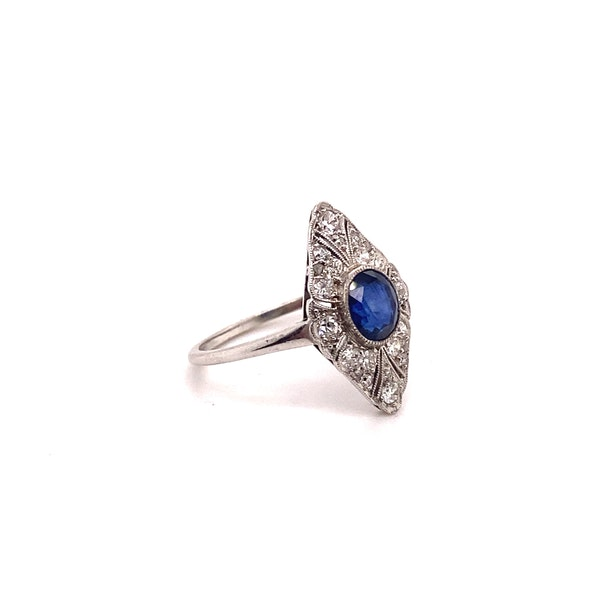 Art Deco Sapphire and Diamond Marquise Shaped Ring Ca1920-35 - image 6