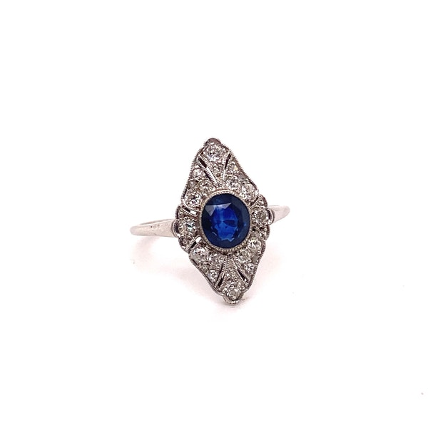 Art Deco Sapphire and Diamond Marquise Shaped Ring Ca1920-35 - image 2