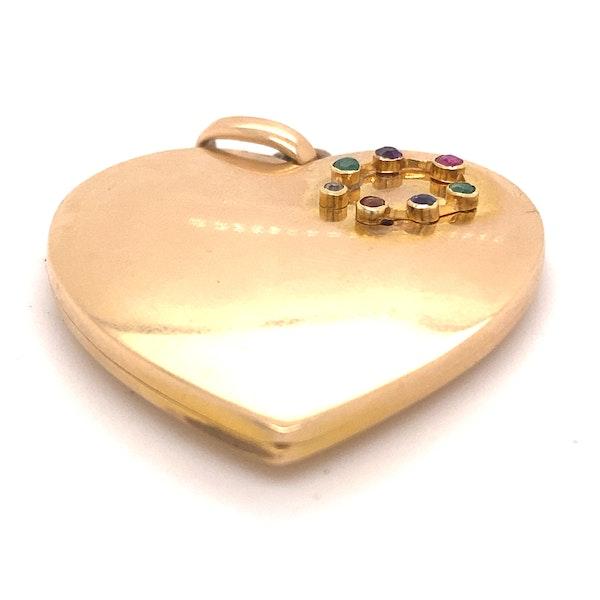 Edwardian Large Gem Set ' DEAREST' Heart in Lucky Horse shoe, 18ct Gold Ca1915 - image 4