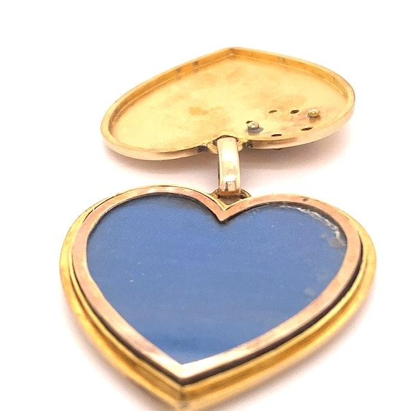 Edwardian Large Gem Set ' DEAREST' Heart in Lucky Horse shoe, 18ct Gold Ca1915 - image 3