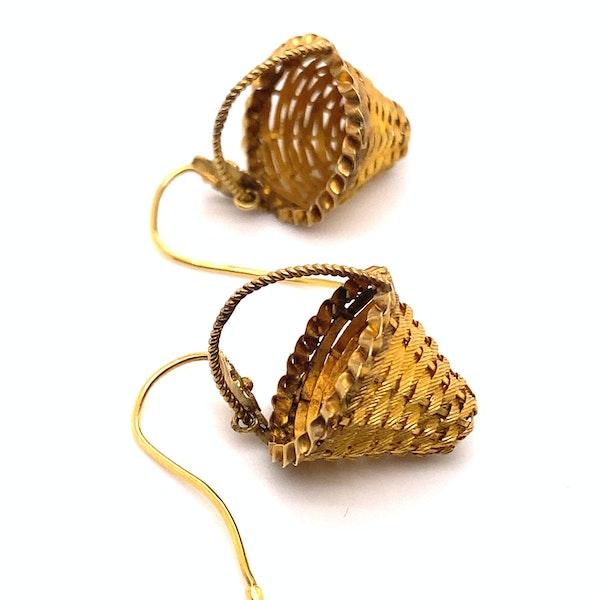 Georgian Basket Earrings Ca 1830 - image 2