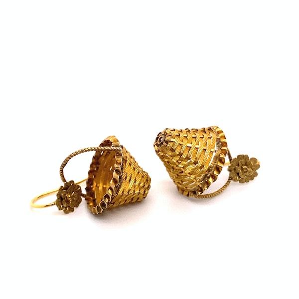Georgian Basket Earrings Ca 1830 - image 3