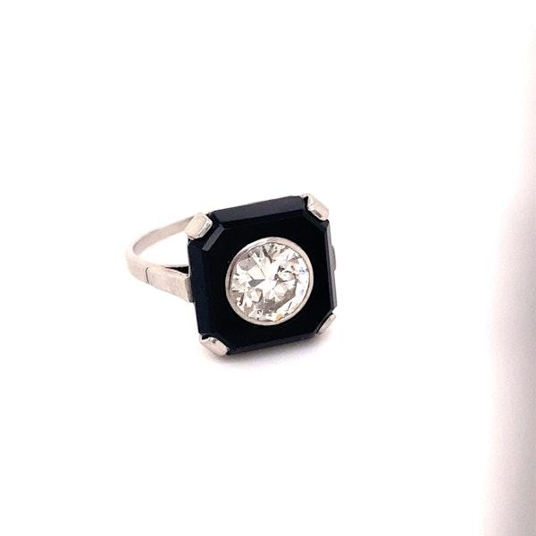 Art Deco Onyx and 'Transition cut' Diamond Ring Ca1920-35 - image 1