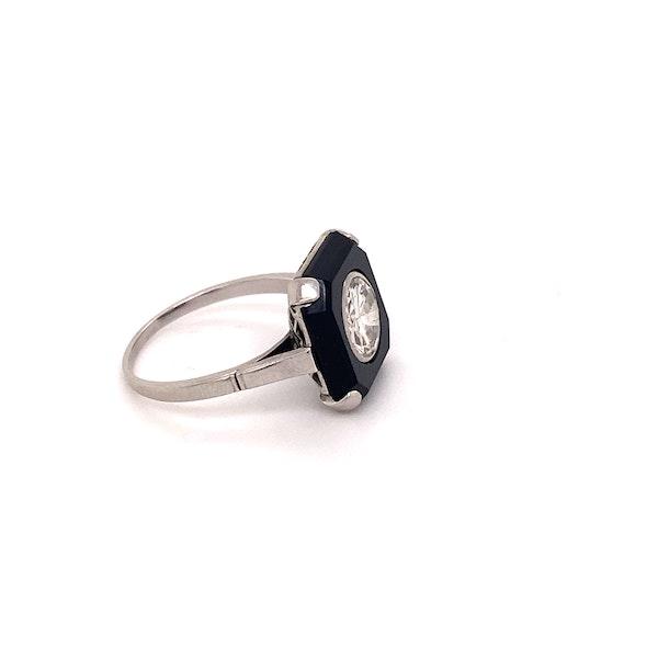 Art Deco Onyx and 'Transition cut' Diamond Ring Ca1920-35 - image 3