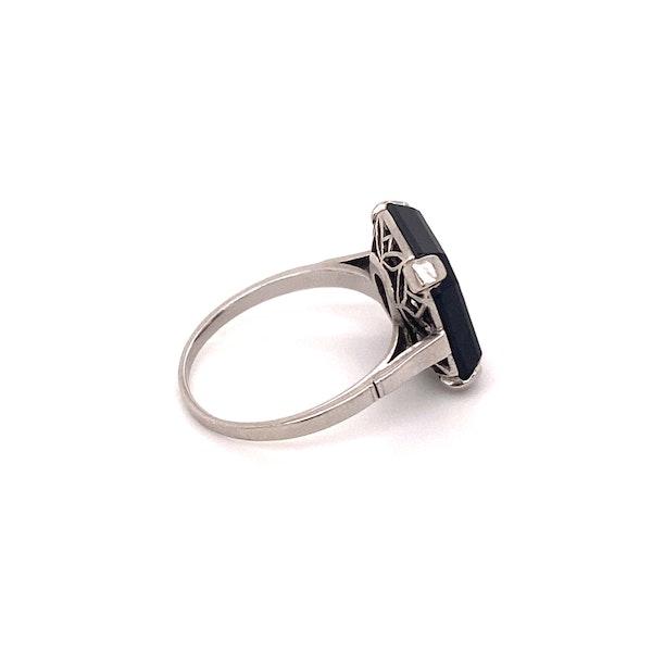 Art Deco Onyx and 'Transition cut' Diamond Ring Ca1920-35 - image 2