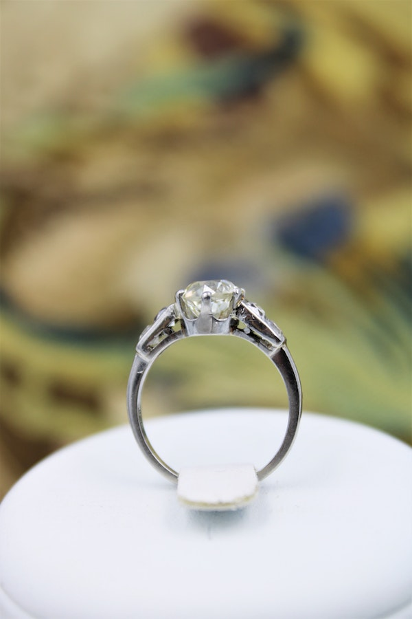 A very fine 1.60ct Old Cut Diamond & Platinum Solitaire Ring with French Cut Shoulders, English, Circa 1930 - image 5