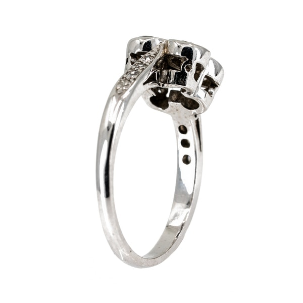 4 stone diamond ring with diamond shoulders - image 3