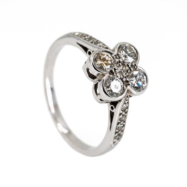 4 stone diamond ring with diamond shoulders - image 2