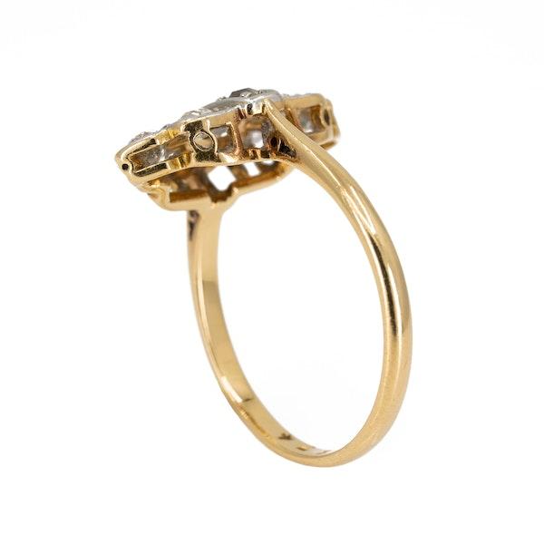 Art Deco diamond marquise shape cluster ring - image 3