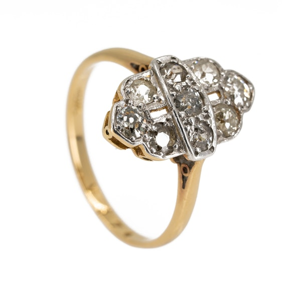 Art Deco diamond marquise shape cluster ring - image 2
