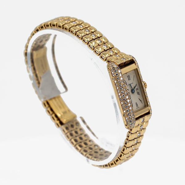 Cartier Ladies Gold and Diamond Set Wristwatch Offered By The Gilded Lily - image 2