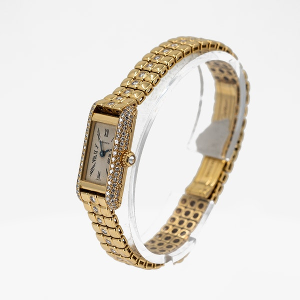 Cartier Ladies Gold and Diamond Set Wristwatch Offered By The Gilded Lily - image 3