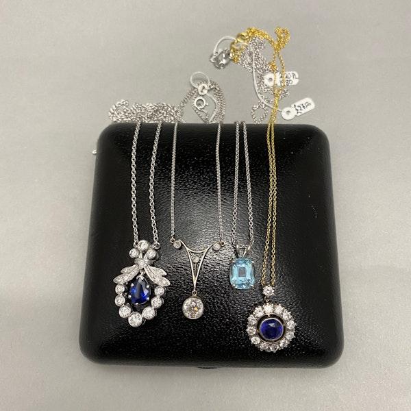 Sapphire Diamond Pendant in Platinum with 18ct White Gold Chain date circa 1950, SHAPIRO & Co since1979 - image 7