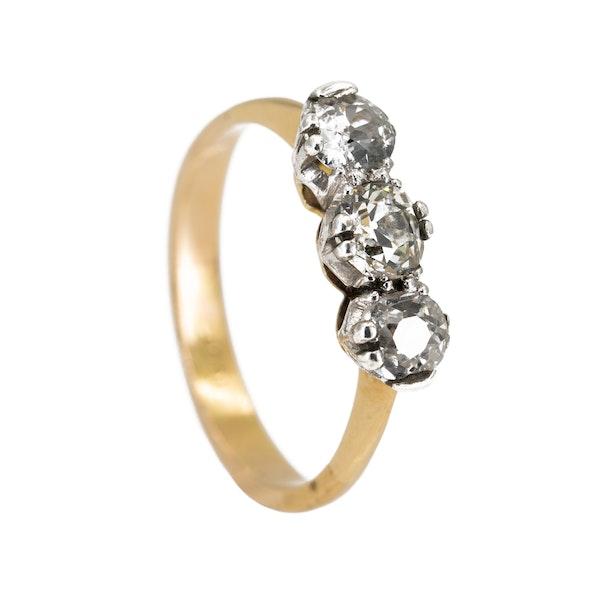 3 stone diamond ring, 1.20 ct total est. - image 2