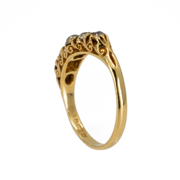 3 stone diamond ring, carved half hoop - image 3