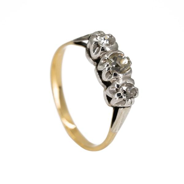 3 stone diamond ring, total 0.65 ct est. - image 2