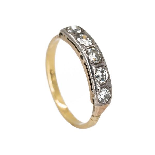 Edwardian 5 stone diamond ring, 0.70 ct total est. - image 2