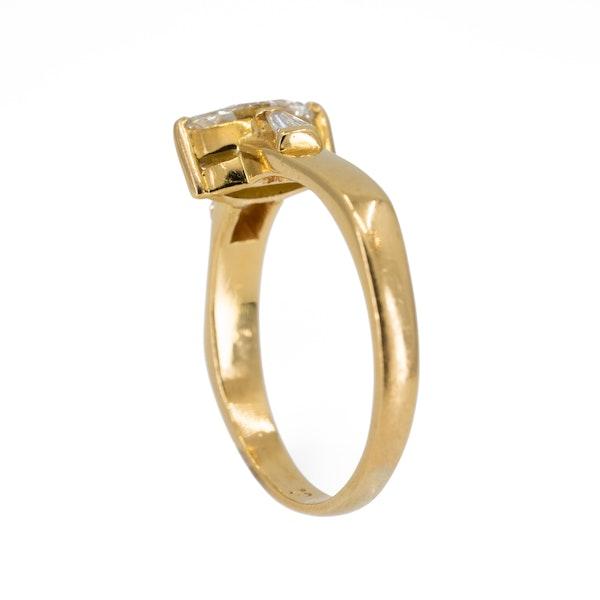 Diamond marquise shape 3 stone diamond ring - image 3