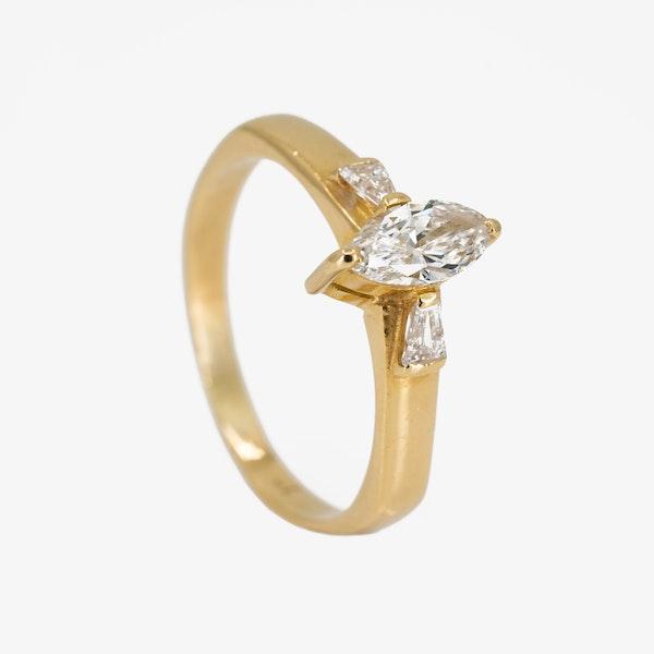 Diamond marquise shape 3 stone diamond ring - image 2