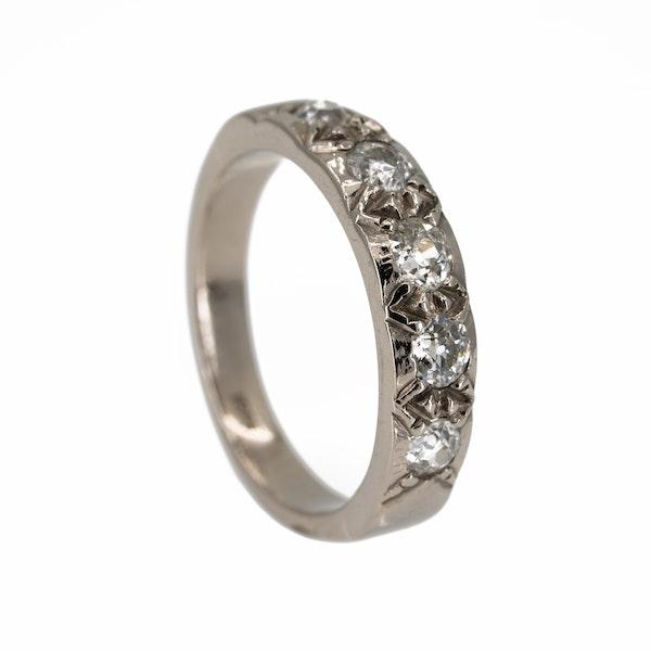 Diamond 5 stone half hoop band ring - image 2