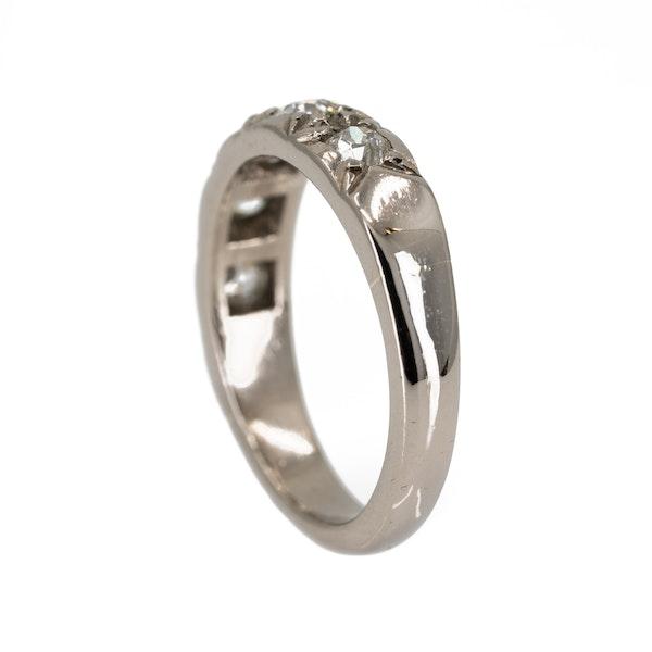 Diamond 5 stone half hoop band ring - image 3