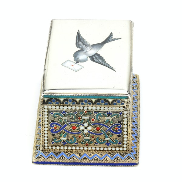 Russian silver-gilt, cloisonné and pictorial enamel stamp box.Moscow 1888 - image 3