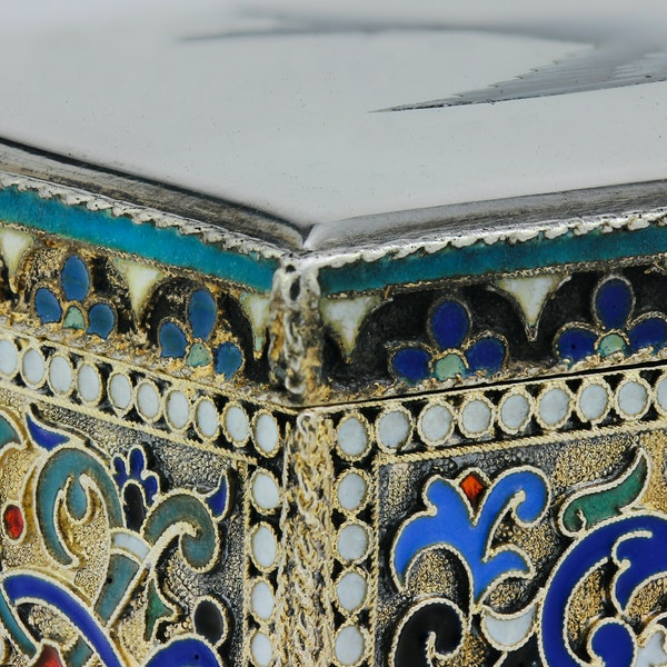 Russian silver-gilt, cloisonné and pictorial enamel stamp box.Moscow 1888 - image 9