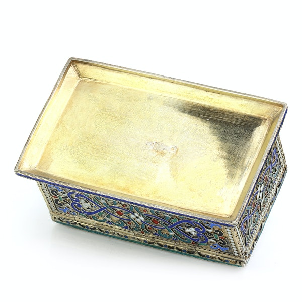 Russian silver-gilt, cloisonné and pictorial enamel stamp box.Moscow 1888 - image 8