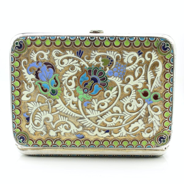Russian silver gild and cloisonné enamel cigarette case, Moscow 1890s by BиK - image 2