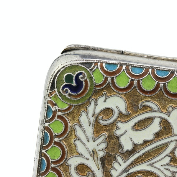 Russian silver gild and cloisonné enamel cigarette case, Moscow 1890s by BиK - image 8