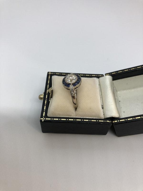Art Deco style diamond sapphire target ring - image 2