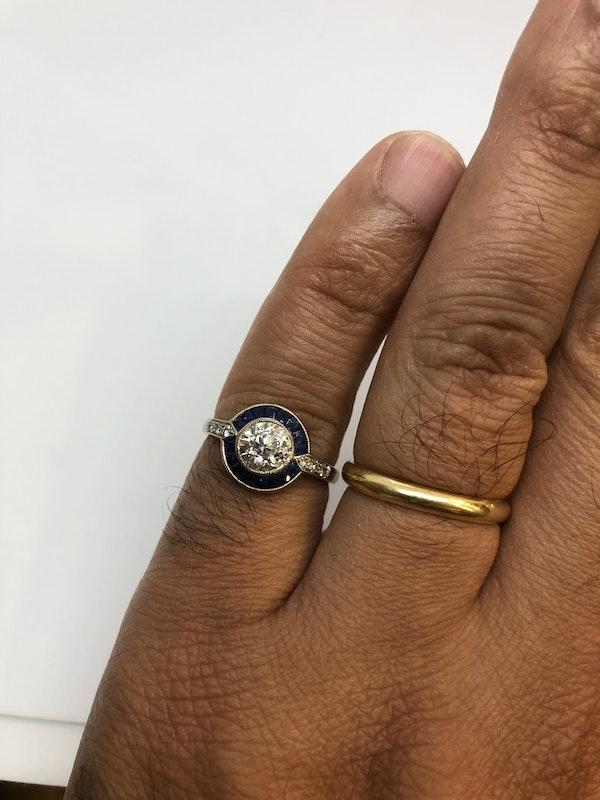 Art Deco style diamond sapphire target ring - image 4