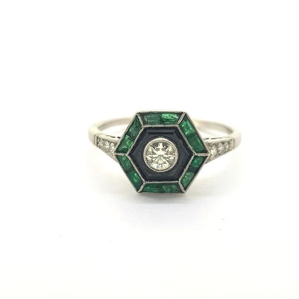 Vintage Art Deco Emerald, Onyx & Diamond Ring - image 3