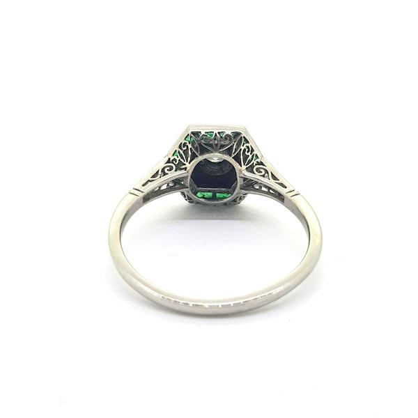 Vintage Art Deco Emerald, Onyx & Diamond Ring - image 4