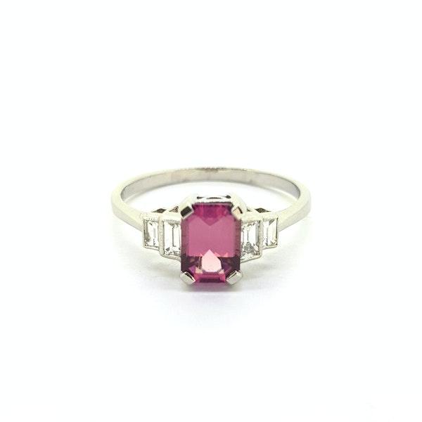 Pink Tourmaline and Diamond Ring - image 2