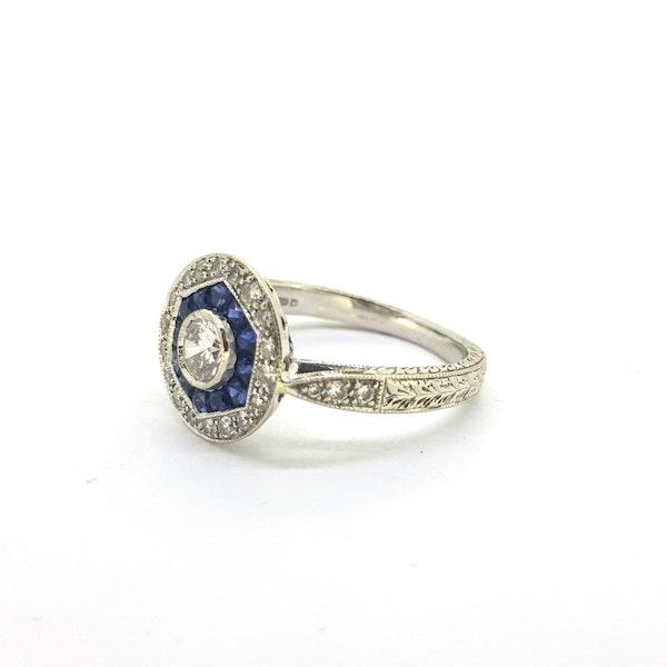 Vintage Art Deco Sapphire & Diamond Ring - image 3